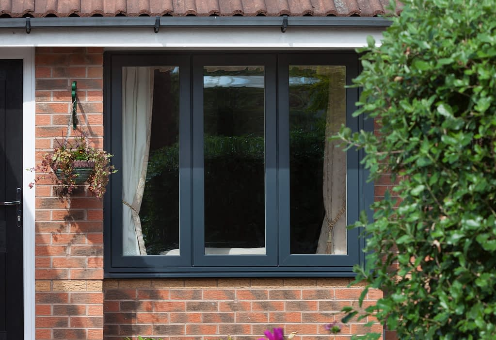 Grey aluminium window manufactured by Highseal. aluminium windows, doors and conservatories available from Highseal Manufacturing.