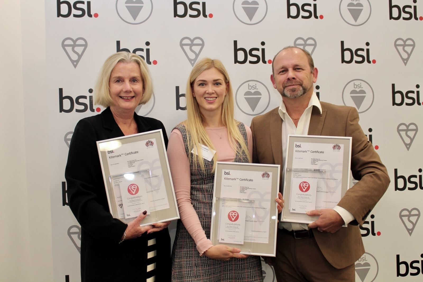 Holly and Neil Donaldson receiving the BSI certificates for the company. About Highseal Manufacturing: Highseal is accredited in three BSI certificates and CE marking to ensure their products are reliable and quality controlled.