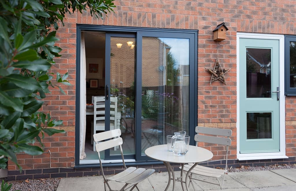 grey aluminium patio slider manufactured by Highseal Manufacturing
