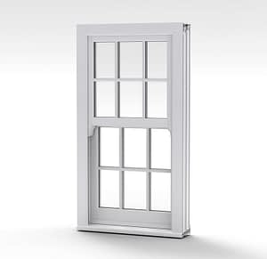 image of white vertical slider with georgian bars on its own Highseal Manufacturing Company is a family run independent manufacturing facility based in Scunthorpe, North Lincolnshire, which provides a comprehensive range of PVC-u and aluminium windows, doors, conservatories, roofing structures and other home improvement products to the trade and domestic markets. This picture shows spectus white pvc window profile which is one of the many pvc products Highseal can provide. PVC profile can come in different colours and variations to suit your taste, this picture shows white profile. Windows and doors available to buy from our ebay shop as well.