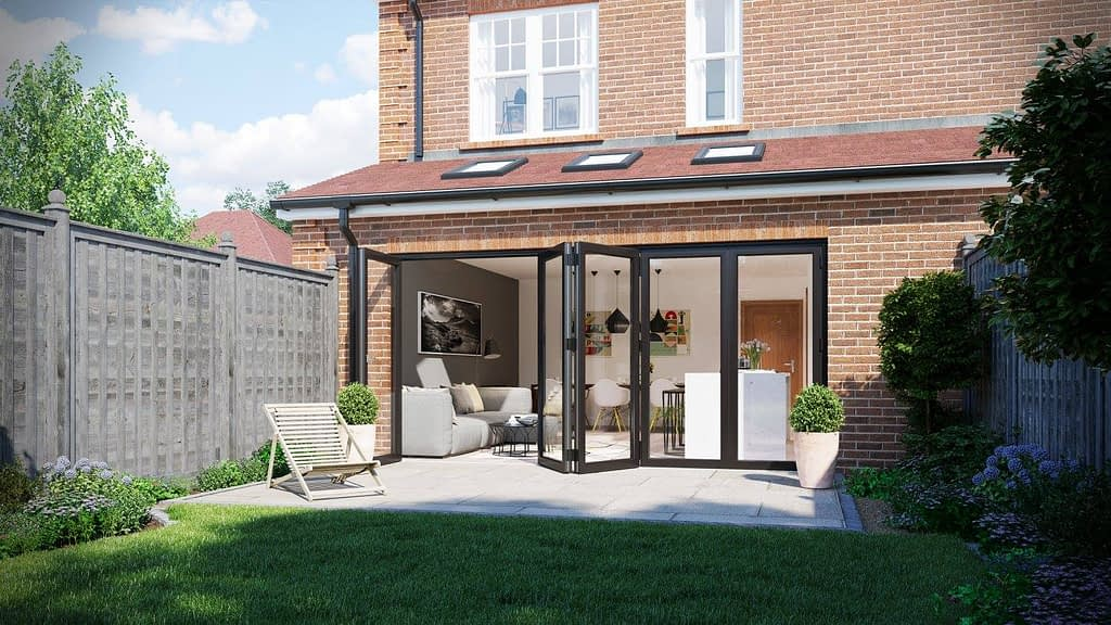 Aluminium bi-folding doors, anthracetic grey. Highseal manufacturing manufactures aluminium products. Highseal manufactures aluminium products at their factory in Scunthorpe, North Lincolnshire. This alumnium product is available to trade, commercial, DIY and retail.