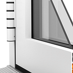 Aluminium square external sash available on aluminium windows